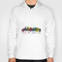 north carolina Hoodies featuring Charlotte, North Carolina Skyline by Marlene Watson