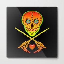 Neon Sugar Skull Drummer. Metal Print