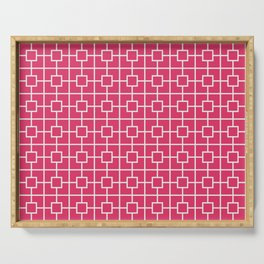 Cerise Pink Square Chain Pattern Serving Tray