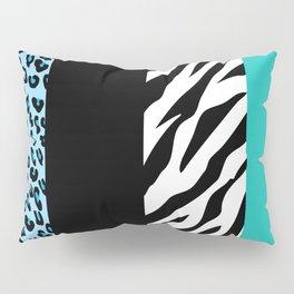 Animal Print, Zebra Stripes, Leopard Spots - Blue Pillow Sham