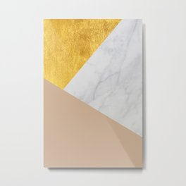 Carrara Marble with Gold and Pantone Hazelnut Color Metal Print