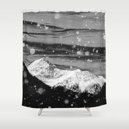 Mountains in Black and White Shower Curtain