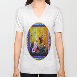 Hollyhock Painting in a Western Style Art Design Unisex V-Neck