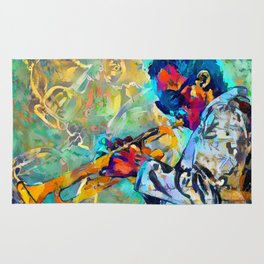 Jazz State of Mind - Colorful Impressionism Miles D. Davis Louis Armstrong Trumpeters Rug