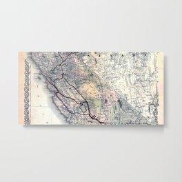 Map of California [and Nevada] 1876 Metal Print