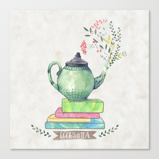 Books & Tea Watercolor Canvas Print