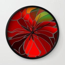 Abstract Poinsettia Wall Clock