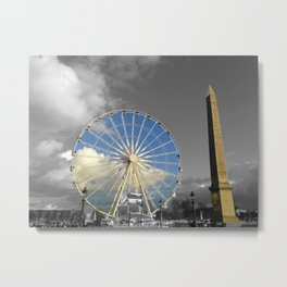 Paris black and white with color Gold Metal Print