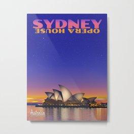 Sydney Opera House Travel Poster Metal Print