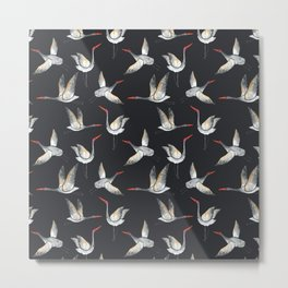Crane pattern - dark Metal Print