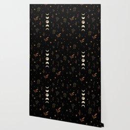 Moonlight Garden - Winter Brown Wallpaper