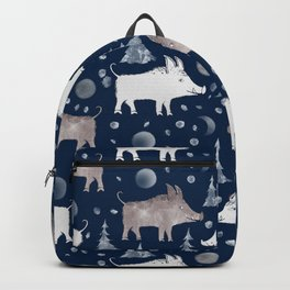 Piglets on a dark blue background with fir trees and snow. Backpack