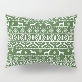 Husky fair isle green and white minimal christmas dog pattern gifts huskies Pillow Sham