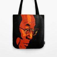 lama Tote Bags featuring Dalai Lama  by Jake Wangner