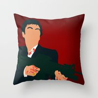 scarface Throw Pillows featuring Scarface by Tom Storrer