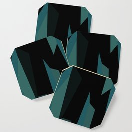 teal and black abstract Coaster