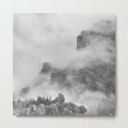 """""""The mountains are calling to me"""". BW. Square Metal Print"""