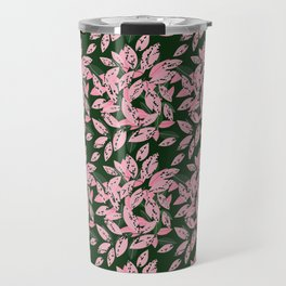 Pink and Green Indoor Plant Print Pattern for Fashion and Home Decoration. Travel Mug