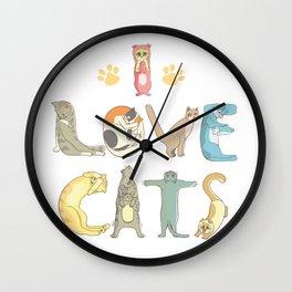I love cats cute print Wall Clock