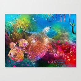 Sea Turtle In Living Color Canvas Print