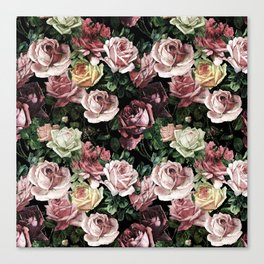 Vintage & Shabby chic - dark retro floral roses pattern Canvas Print