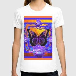 SURREAL DESIGN BLACK BUTTERFLIES PURPLE IRIS T-shirt