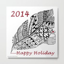 Holiday Greeting Pen and Ink Zentangle Metal Print