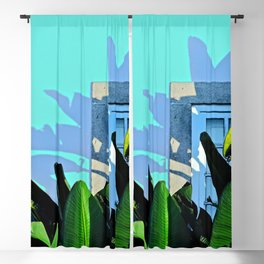 Picturesque Tropical Banana Palm Tree House Facade Window Blackout Curtain
