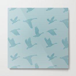 Flying Birds Pattern | Blue Mood Metal Print