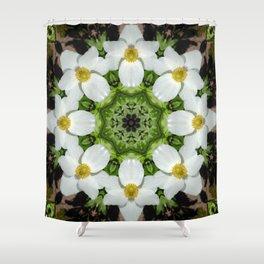 Canada anemone mandala 875 kal1 Shower Curtain