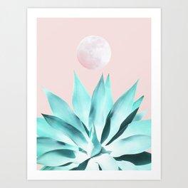 Stellar Agave and Full Moon - pastel aqua and pink Art Print