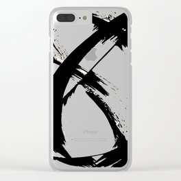 Brushstroke 7: a minimal, abstract, black and white piece Clear iPhone Case