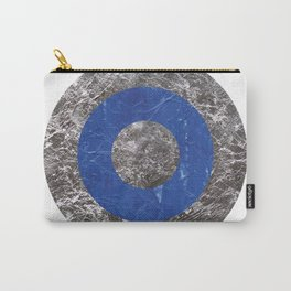 Metallic Silver And Blue Ink Texture Minimal Abstract Circle Print. Carry-All Pouch