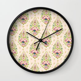 Hand drawn arabesque floral paisley damask Wall Clock