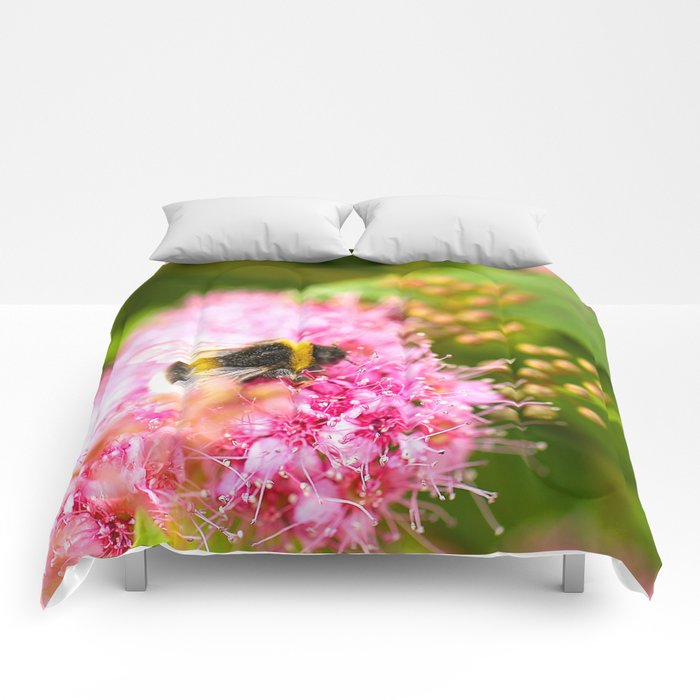 Busy Bee Bzzzzzzz On A Pink Flower #decor #society6 Comforters