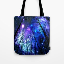 black trees purple blue space Tote Bag