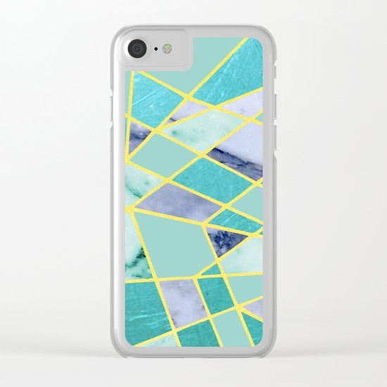 Abstract #439 in Green and Gold Clear iPhone Case