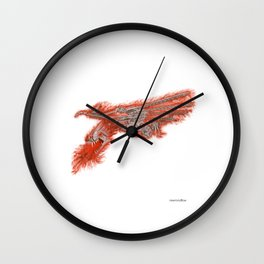 Fire Dragon On White Wall Clock