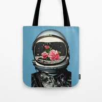 spring Tote Bags featuring Spring Crop at the Rosseland Crater by Eugenia Loli