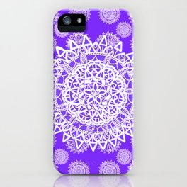 Purple and Pearl White Mandala Textile Pattern iPhone Case