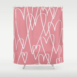 Doodle Hearts in Pink by Friztin Shower Curtain