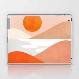 Abstraction_SUNSET_LAKE_Mountains_Minimalism_001 Laptop & iPad Skin