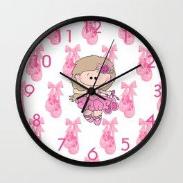 Little Ballerina in Pink Wall Clock