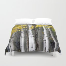 Yellow, Black, and White // Aspen Trees in Crested Butte Duvet Cover