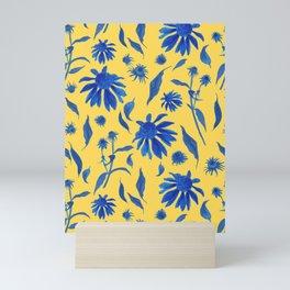 Elegant Blue Cone Flowers on Mustard Yellow Mini Art Print