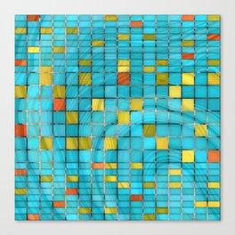 Block Aqua Blue and Yellow Art - Block Party 2 - Sharon Cummings Canvas Print