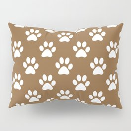 White paws on brown Pillow Sham