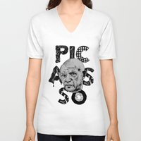 pablo picasso V-neck T-shirts featuring Pablo Picasso - History of Art by RJ Artworks