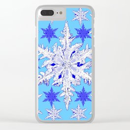 BABY BLUE SNOW CRYSTALS BLUE WINTER ART DESIGN Clear iPhone Case