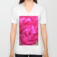 peony V-neck T-shirts featuring Peony by Stecker Photographie